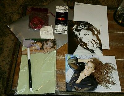 Celine Dion 2003 fan club items 5 yen coin necklace memo postcard stationary ++