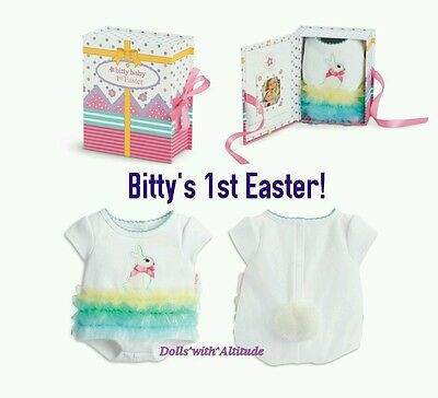 NEW AMERICAN GIRL Bitty Baby's 1st First Easter Bunny Gift Onesie & Music Box