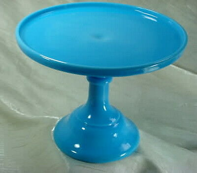 "10"" Pedestal Plain & Simple Milk Blue Glass Cake Pedestal Plate Stand Bonnie Blu"