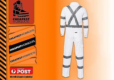1x night overall white RTA coverall with cross tape night roadworker cottondrill