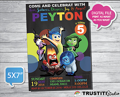 INSIDE OUT MOVIE Birthday PARTY Invitation - Digital File you print