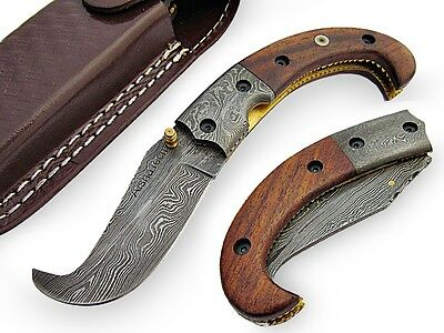 Crooked Folding Knife Damascus Steel Blade Solid Wood Handle