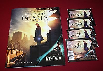Fantastic Beasts And Where To Find Them Sticker Album +4 Packs~Harry Potter New