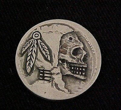 3 Feathers Skull Coin Hand Carved Detailed Hobo Nickel Folk Art OHNS 1304