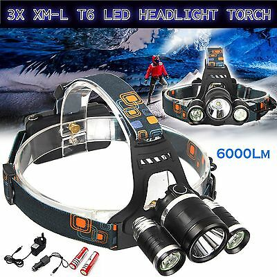 6000LM 3X T6 XM-L LED Headlamp Head Torch Rechargeable Outdoor Headlight UK