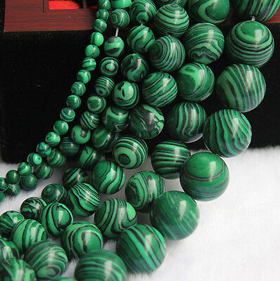 Natural Malachite Gemstone Round Spacer Loose Beads Making Craft 4/6/8/10/12mm