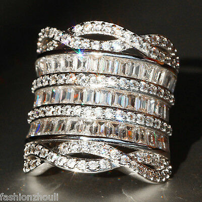 Fashion 925 Silver Filled White Sapphire Birthstone Engagement Wedding Ring Gift