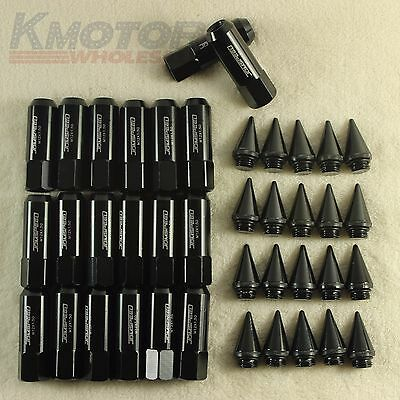 Black 20PCS M12X1.5 Cap Spiked Extended Tuner 60mm Aluminum Wheels Rims Lug Nuts