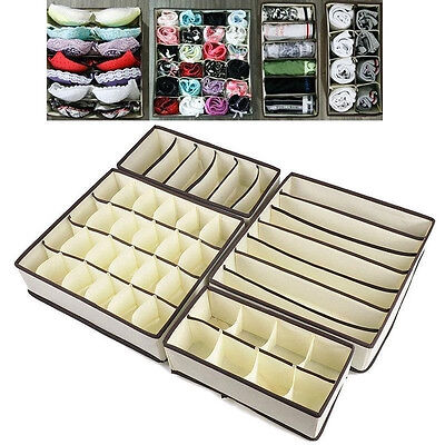 New Set 4 Pcs Foldable Organizer Storage Box For Bra Ties Underwear Socks