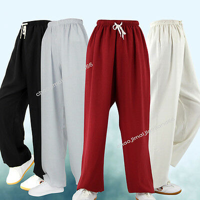 Unisex Kung Fu Tai chi Martial Arts Trousers Exercise Pants Cotton and Linen