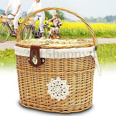 Handcraft Wicker Bike Front Picnic Basket Shopping Carry Box w/ Lid Carry Handle