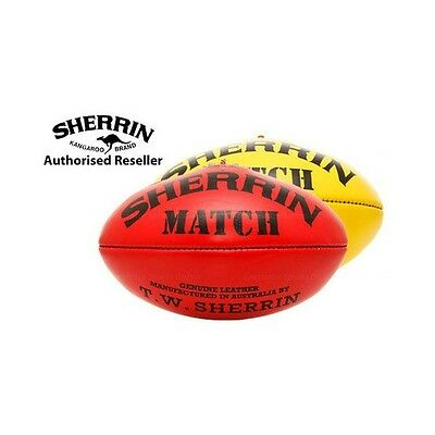 Size 2 AFL Football, Auskick Size, Leather Sherrin Match Ball - RED