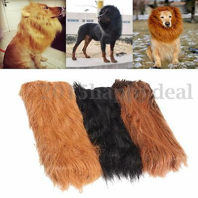 UK Pet Costume Dog Lion Wigs Hair Collar Festival Fancy Dress Up Clothes M Size