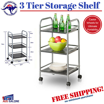 New 3 Tier Kitchen Service Trolley Steel Metal Storage Shelf Wheels Bench