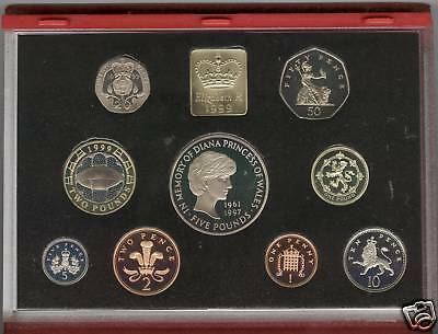 Cased 1999 De-Luxe Red Proof Set Of 9 Coins In Perfect Condition