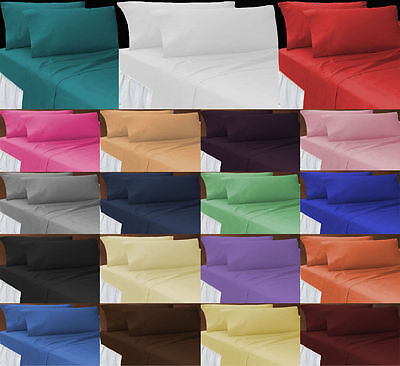 Plain Dyed Poly Cotton Complete Sheet Set (Flat+Fitted+Pillow Cases) All Sizes