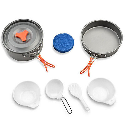 New 2 Person Cooking Pot Camping Cookware Outdoor Pots Frying Pan Kettle Set