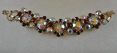MINT! Vtg JULIANA Topaz & AB Headlight Rhinestone Bracelet! GORGEOUS!