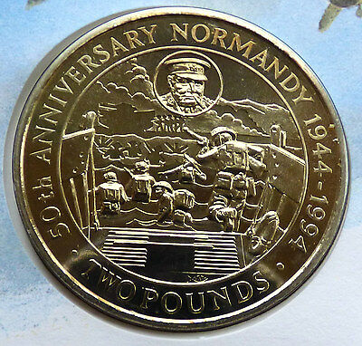 GUERNSEY 50th ANNIVERSARY NORMANDY TWO POUNDS COIN COVER 1994