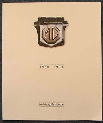 MG HISTORY OF THE MARQUE Car Publicity Brochure 1930 - 1992 #4406