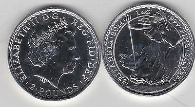 2014 SILVER £2/1oz. BRITANNIA IN NEAR MINT CONDITION WITH HORSES ON THE EDGE