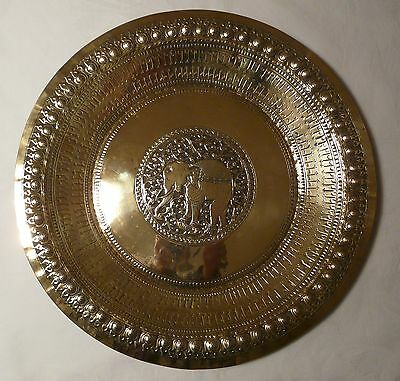 Indian Decorative Brass Plate Dish Tray Elephant