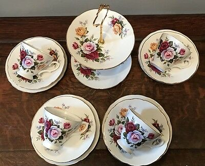Vintage Royal Sutherland tea set for 4 with mini cake stand - gorgeous