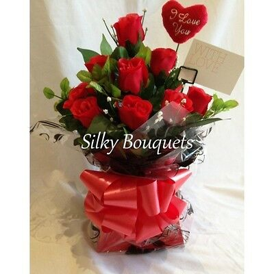 12 Red Rose Bouquet In A Box Valentines Day Flowers Delivered Dozen Rose Silk