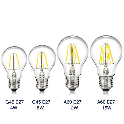 E27 4/8/16W Edison Retro Filament COB LED Bulb Vintage Round Light G45/A60 Lamps