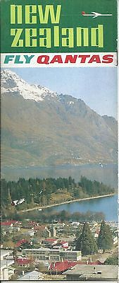 1966 Qantas Airlines Fly To New Zealand Tourist Brochure