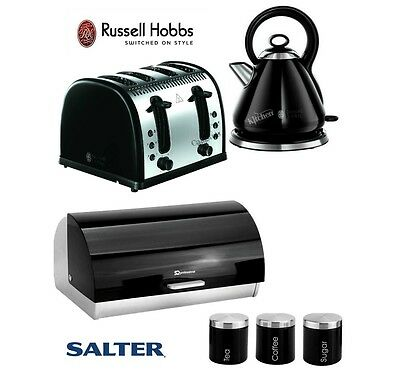 Russell Hobbs Black Kettle and Toaster Set & SQ Bread Bin and Canister Set New