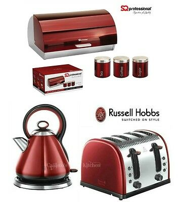 Russell Hobbs Red Legacy Kettle and Toaster Set & SQ Bread Bin and Canister New