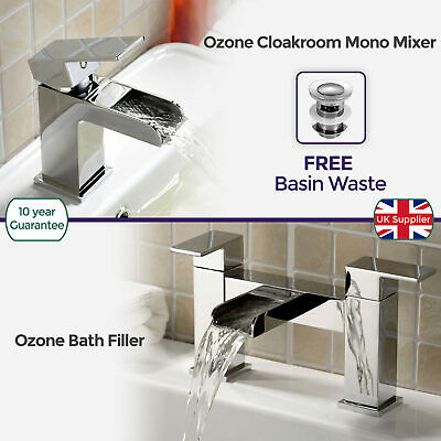 Ozone Waterfall Brass Chrome Cloakroom And Bath Filler Mixer Tap *free Waste*