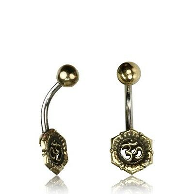 Tribal Belly Ring 14G 1.6Mm Solid Brass Naval Bar Om Symbol Boho Gypsy Ohm Yoga