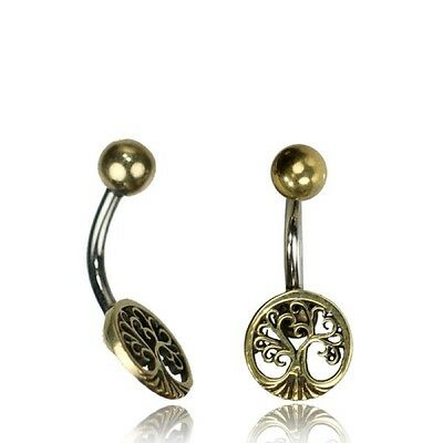 Tribal Belly Ring 14G 1.6Mm Solid Brass Naval Bar Tree Of Life Boho Gypsy Yoga