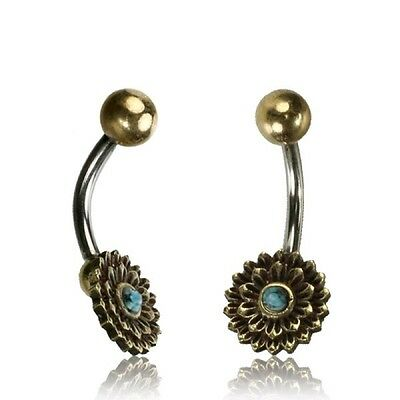 Tribal Belly Ring 14G 1.6Mm Brass Naval Bar Flower Turquoise Boho Gypsy Yoga
