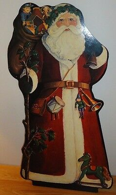 """SANTA CLAUS wood 32"""" Large Display Decoration w/Picture Paper front & back"""