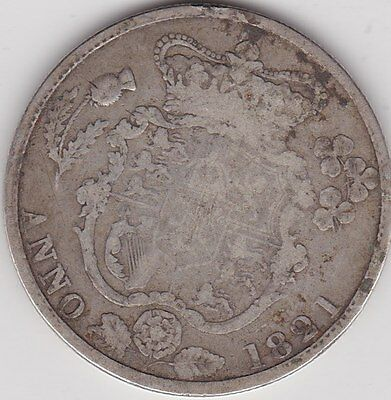 1821 George Iiii Silver Halfcrown In Used Poor To Fair Condition