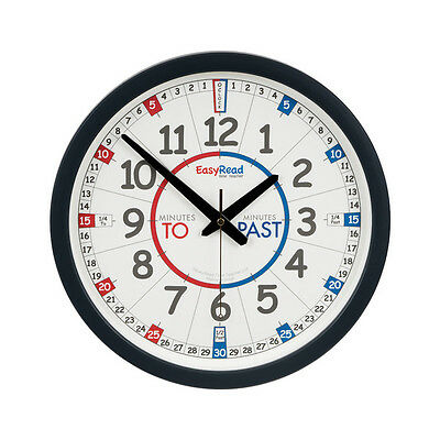 NEW!! Childrens 35cm Easy Read Time Teacher Clock Learn to Tell Time