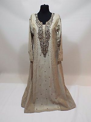 Gold beige beads party stones dress gown size M-L free shipping