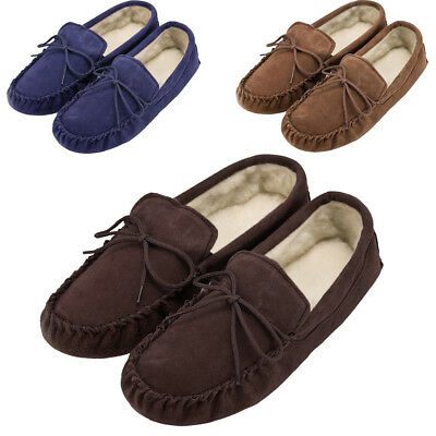 Mens - Ladies Genuine Suede Sheepskin Moccasin Slippers with Soft Suede Sole
