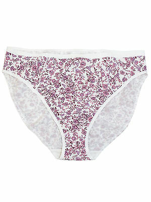 M /& S NO VPL size 8 floral lace knickers panties string side briefs White