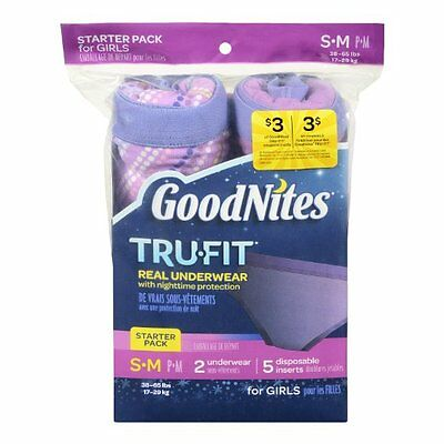 GoodNites Girls Pink Trufit Real Underwear Starter Packs S-M GoodNights bed
