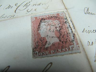 Penny Red Stamp with letter - No Reserve - 7 Day Auction.