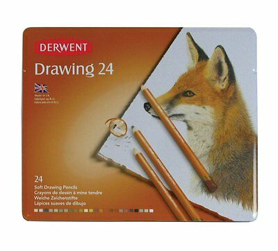 Derwent Drawing 24 Tin Set of Assorted Professional Soft Colour Pencils