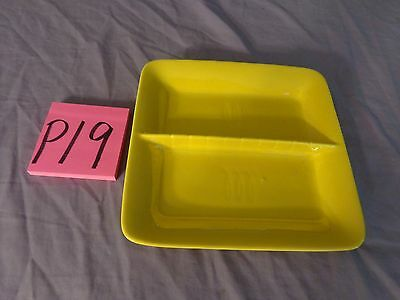 Vintage STANGL yellow Square divided Candy/Snack DISH, USA,relish tray,pottery