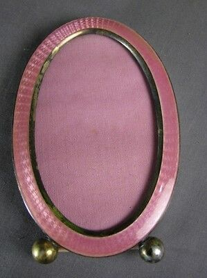 Vintage Sterling Silver Baby Pink Guilloche Enamel Oval Picture Frame Ball Feet