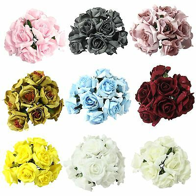 Bunch of 10 Post-Dye Foam Roses! Foam Wedding Flowers Artificial Silk DISCOUNTED