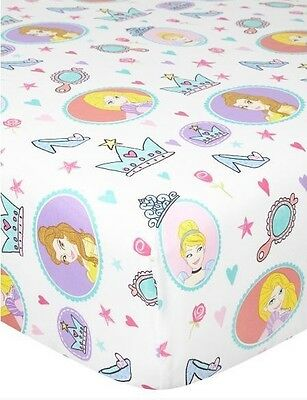 Disney Princess Single Fitted Sheet Bedding Bedroom Girls White Kids Childrens
