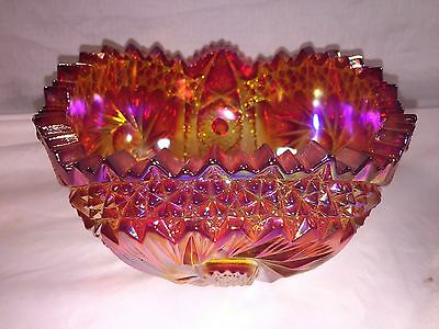 Carnival Glass Bowl Ruby Red Amber Comet In The Stars Heritage Pinwheel LE Smith